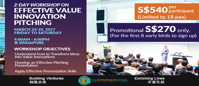 2-Day Workshop on Effective Value Innovation Pitching