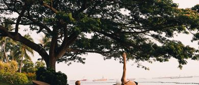 Yoga by Sentosa's Beach